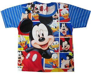 637888fe MICKEY MOUSE DONALD DUCK GOOFY vibrant blue summer t-shirt S-XL 3-8y ...