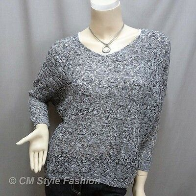 Knit Eyelet Crochet Crop Sweater Pullover Top Gray White M