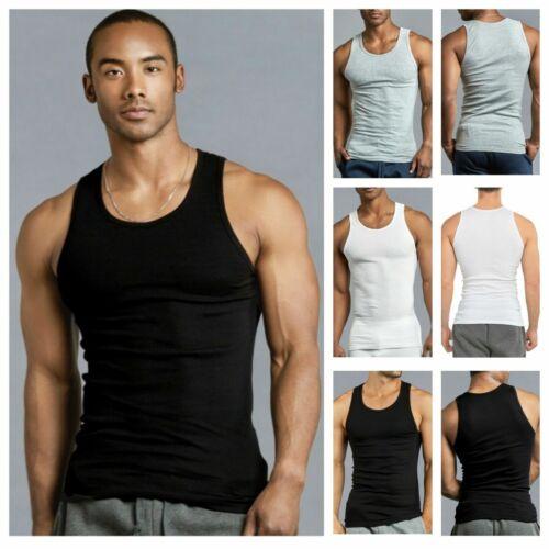 Lote de 3 para hombre Camiseta sin mangas 100/% algodón A-Shirt Camiseta Mujer Batidor Acanalado S ~ 3XL