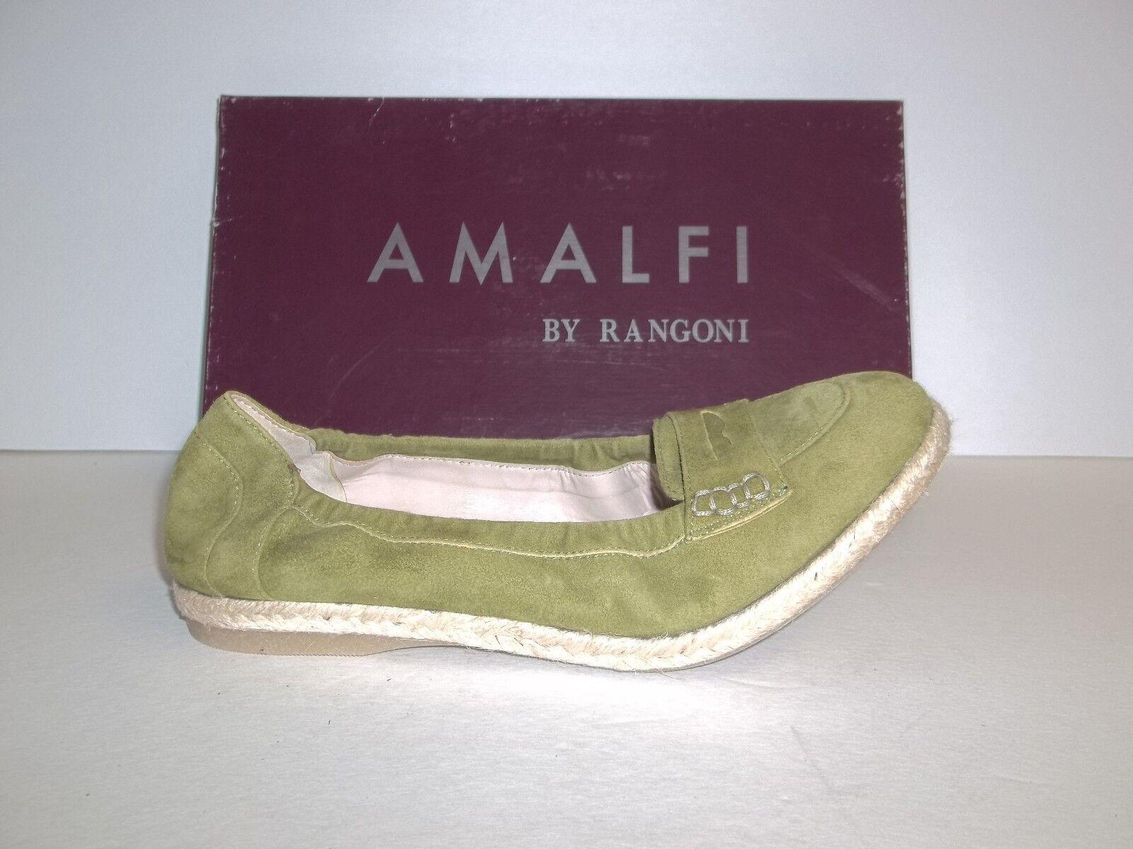 Amalfi by Rangoni Größe 7.5 M Cielo Sedano Green Leder Flats NEU Damenschuhe Schuhes