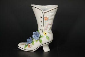 Vintage-Pink-amp-Blue-Floral-Shoe-Boot-High-Heel-Porcelain-Ceramic-Gold-Gilt-Trim