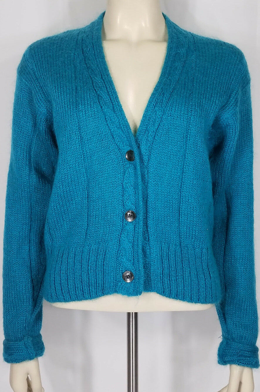 Northeast Knitters teal bluee mohair blend cable knit cardigan sweater ladies S
