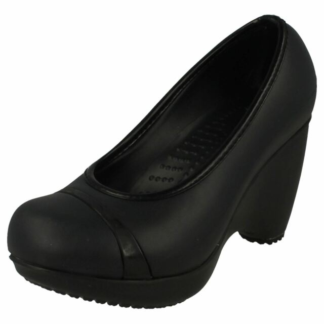 3de9df78568631 Ladies Crocs Black Slip on Wedge Casual Court Shoes Style - Lena W4 ...