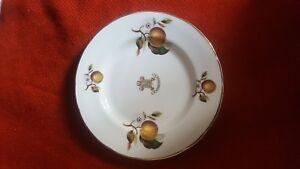 plate-SANDRINGHAM-Fine-Bone-China-M-G-Norwich-England-gilded-peaches-ornaments