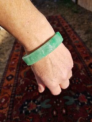 JADE Carved Flower 65mm *Tested Genuine** Green Jade Bangle Bracelet ideal apple  Bracelet usa Seller