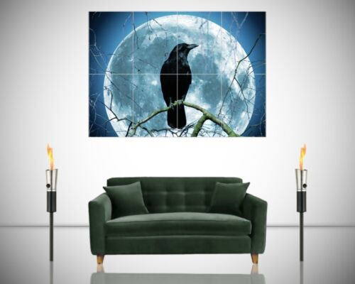 Crow Raven Moon Night Gothic Fantasy Stunning Giant Poster Wall Art Print