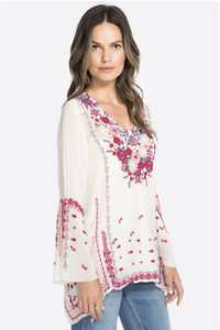 Embroidered-Shell-JOHNNY-WAS-Blouse-WISH-STITCH-V-Neck-Tunic-Cupra-XS-278