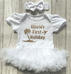 Image is loading PERSONALISED-BABY-GIRLS-FIRST-HOLIDAY-Tutu-Romper-Dress- 7f7dfe32d8