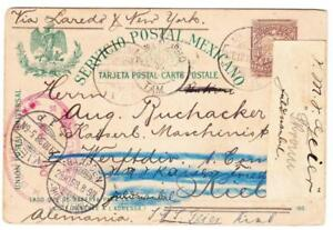Mexico-POSTAL-CARD-VERA-CRUZOCT-12-1898-TO-GERMANY-redirected-to-NAVYZ-SHIP