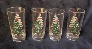 Set-of-4-Furio-Made-in-Italy-Green-Sponge-Christmas-Tree-Tumblers-Drinking-Glass