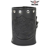 Genuine Leather Motorcycle Cup Holder With Stud