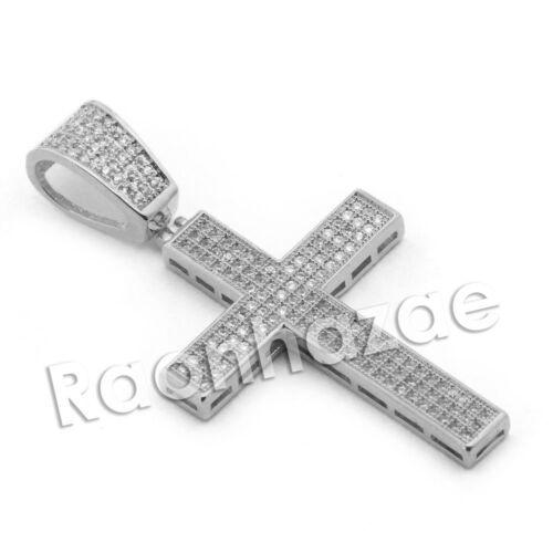 Lab diamond Micro Pave Jesus Cross Pendant w// Miami Cuban Chain BR064