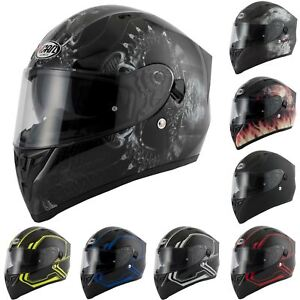 VCAN V128 Dragon Skull Monster Motorcycle Bike Helmet With Drop Down Sun Visor