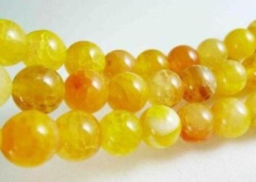"10mm Yellow Dragon Veins Agate Round Gemstones Loose Beads 15/"""