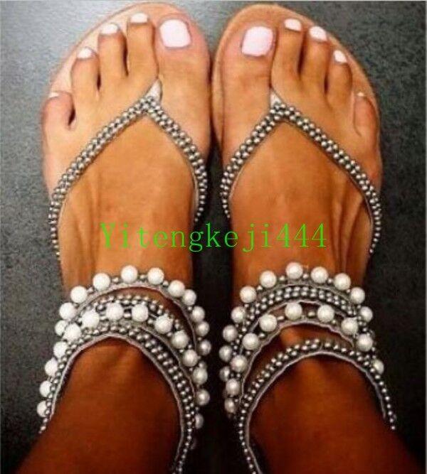 Mujer Gladiador Sandalias De Correa De Diamantes De Imitación Imitación Imitación Correa Flip Flop Nuevos Zapatos Planos De Playa  alta calidad general