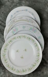 4-Vtg-Pink-Blue-Floral-Mismatched-China-Dinner-Plates-Shabby-Chic-Wedding-DPi2