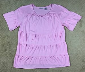 NWOT Womens' Roaman's Pink Tiered Pink Short Sleeve V-Neck Knit Top-Size L