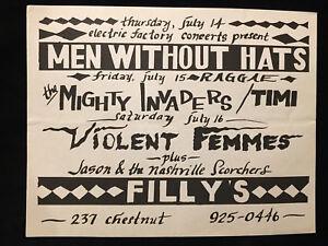 ORIGINAL CONCERT FLYER-MEN WITHOUT HATS-VIOLENT FEMMES-JASON & SCORCHERS 1980s