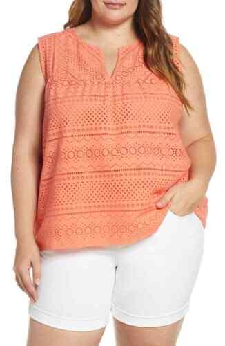 New Lucky Brand Women/'s Plus Size 3X Salmon Eyelet 2 Piece Tank Top