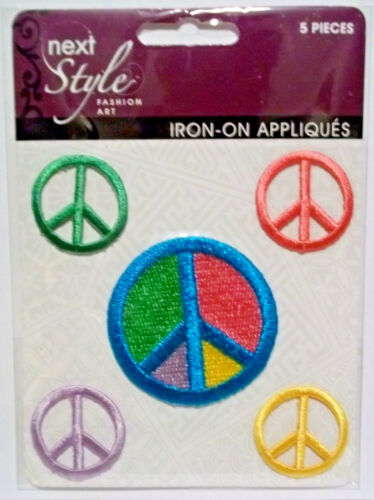 5 Peace Symbols  Embroidered Iron-on Appliques    Free Shipping  Horizon  NIP