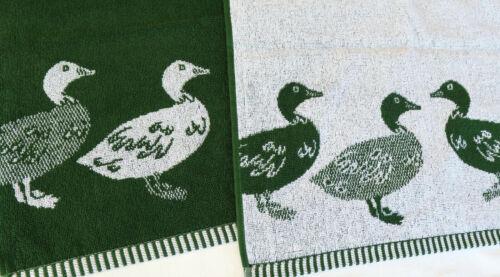 2x Handtücher Enten Frottee Kracht Küchentücher Küche Paar Farm Jagd Natur Grün