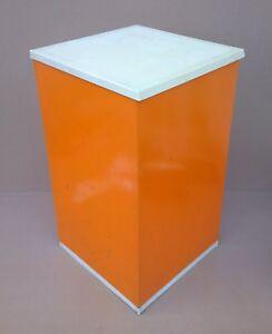 ... Coffre Paniere Poubelle Metal Orange Vintage Deco Cuisine
