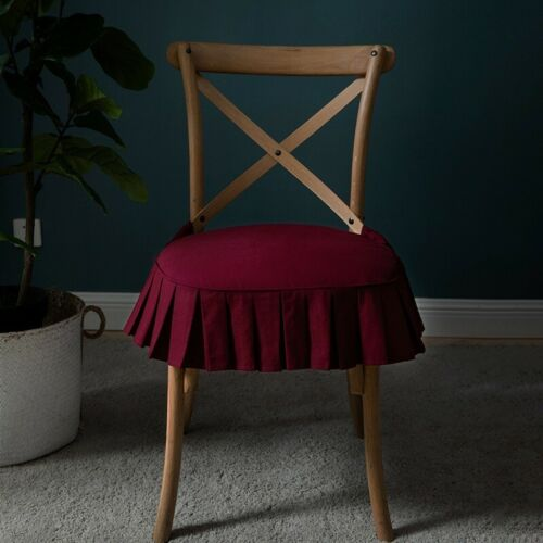 Thicken Skirt Dining Room Chair Seat  Cushion Removable Upholstered Elastic