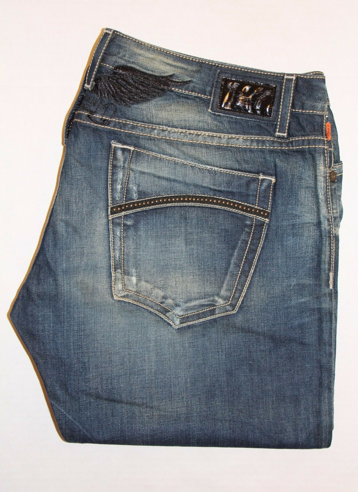 Neu Herren ROTKEHLCHEN Jeans Größe 42  D5462BLK Marlon Gerade mit Nieten Besetzt
