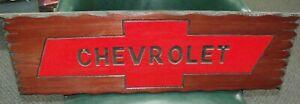 Custom-CHEVROLET-Gas-Oil-Rat-Rod-Mancave-Wood-Redwood-Sign-Decor-Garage-Chevy