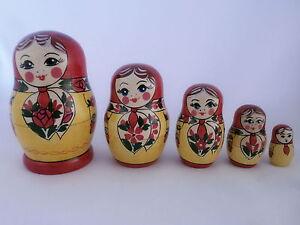 Russian Matryoshka Babushka Wooden Nesting Stacking Doll Toy Anuta 5 pcs