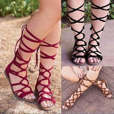 Sandalias Botas Zapatos Planos de Señoras Vendaje Rodilla Alto Zapatos De Verano