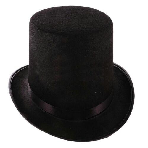 55CM Childs Top Hat Satin Magician Butler Fancy Dress Costume Top Hats Black