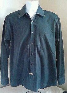 EUC-Haggar-Classic-Poplin-Cotton-Blend-Black-Dress-Shirt-16-34-35-Free-Shipping