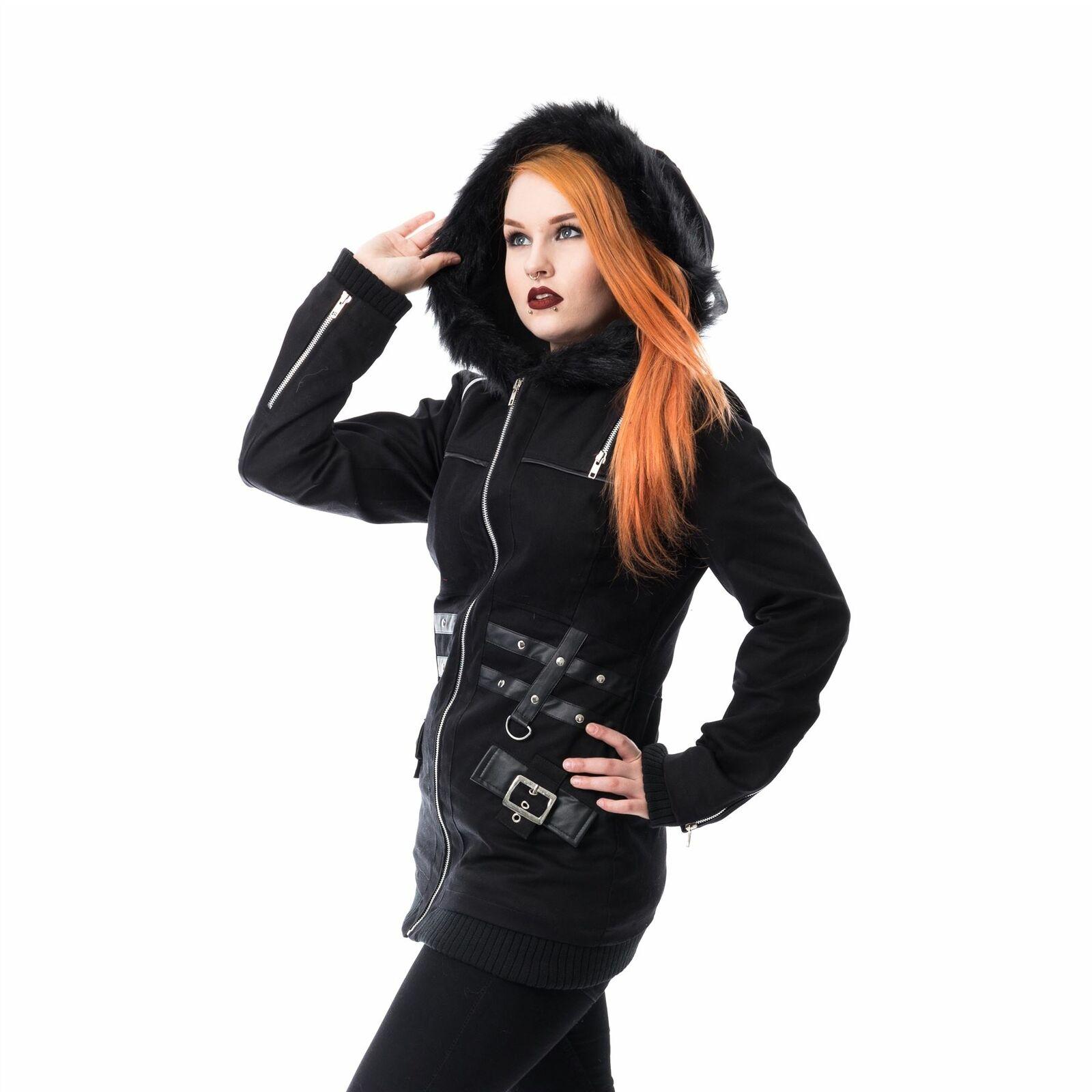 Heartless Sara Jacket Ladies Black Goth Emo Punk Women New Gothic Hooded Warm