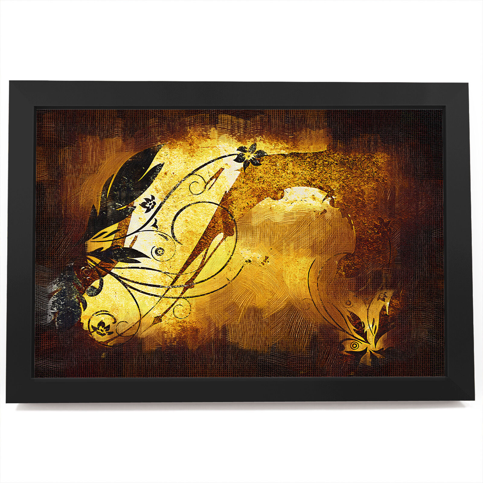 AB492 braun Retro Flower Modern Abstract Framed Wall Art Large Picture Prints