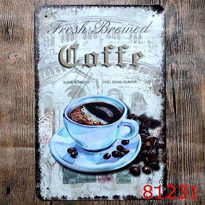 Metal Tin Sign fresh brewed  coffee Decor Pub Bar Vintage Retro Cafe ART