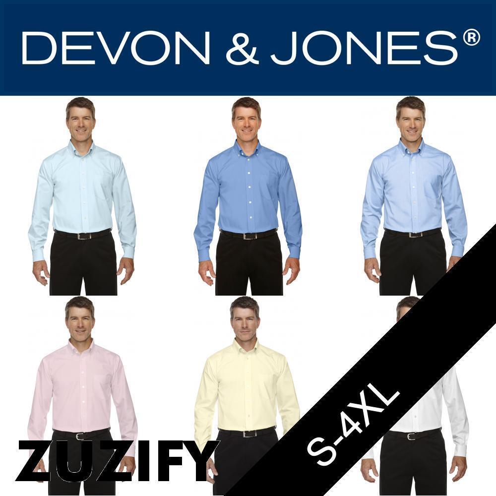 Devon & Jones Mens Crown Collection Solid Oxford Shirt. D630
