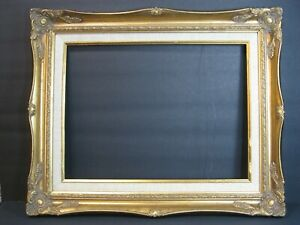 VTG-Ornate-Wood-Gesso-Baroque-Gold-Frame-17-034-X-21-034-W-Linen-Fits-12-034-X-16-034-Art