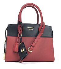 Prada Bag Shoulder Tote Bag Leather Saffiano 1Ba045 Color Fuoco And Black Borsa