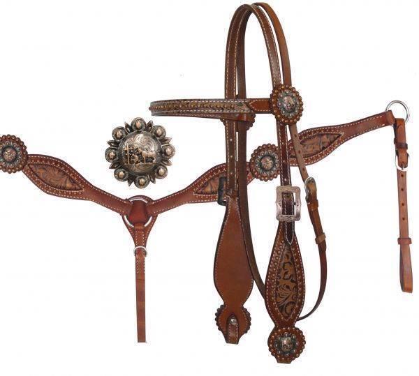 SHOWhomme Bridle & Breast collar Set avec Filigrane Design & Prier Cowboy Conchos