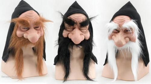 hommes NAIN Magicienne vieil masque latex déguisement Halloween Neuf