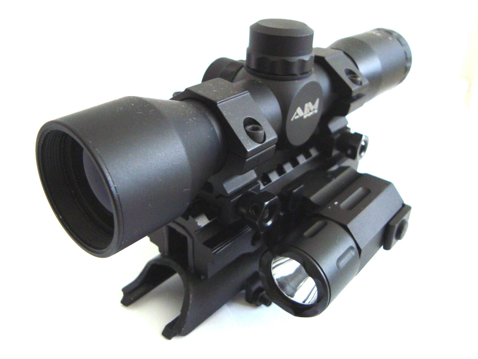 SKS 4X32 Rangefinder Scope with Tactical Red Laser,Flashlight and Tri-rail Mount