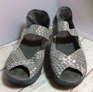 Bernie-Mev-Silver-Wedge-Shoes-Size-39-Fits-8-5-EUC