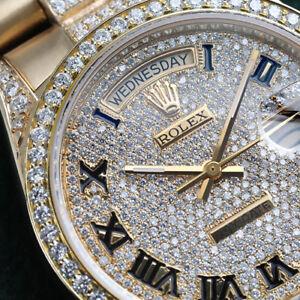 Rolex-36mm-Day-Date-Pave-Roman-Diamond-Dial-18k-Yellow-Gold-Diamond-Watch