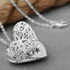 Heart Shaped Locket Photo Pendant Necklace Chain Silver Plated Gift Present
