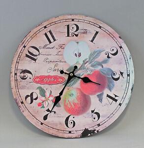 9973075 Wanduhr Uhr Holz-Optik Shabby-Chic Vintage Obst-Motiv D35cm