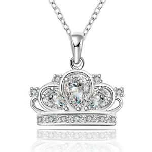 925-Sterling-Silver-Women-Fashion-Crown-Crystal-Pendant-Charm-Chain-Necklace