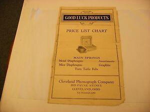 Original Good Luck Phonograph Parts List Chart Cleveland Phonograph Co Ohio