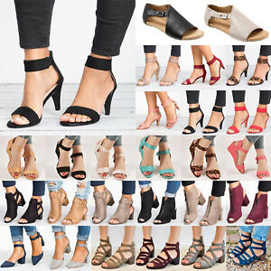 Womens-Ladies-Low-Mid-Block-Heel-Sandals-Ankle-Strap-Party-Work-Smart-Shoes-Size