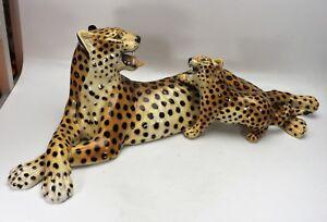 Ronzan-italienische-Keramik-Leopardenpaar-Mutter-mit-Kitten-56-cm-18442